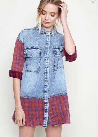 Denim Plaid Buttondown - Oh Deer Boutique
