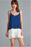 Chiffon Trim Tank - Oh Deer Boutique