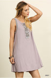 Embroidered-Bibbed Dress - Oh Deer Boutique