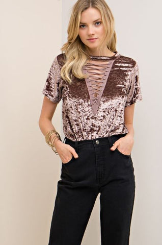 Lace Up Velvet Tee - Oh Deer Boutique