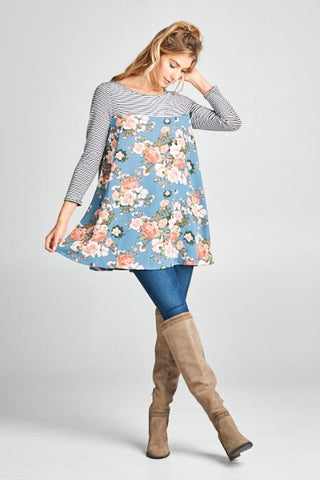 Blue Floral Tunic - Oh Deer Boutique