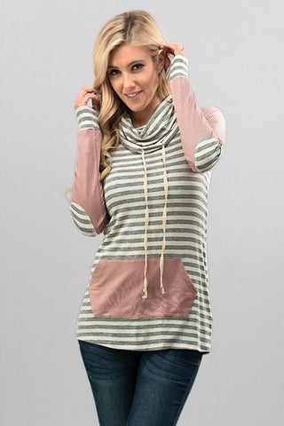 Mauve Stripe Tee - Oh Deer Boutique