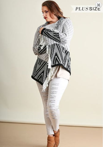 Fringe Trimmed Cardigan - Oh Deer Boutique