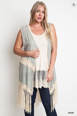 Sage Crochet Duster - Oh Deer Boutique
