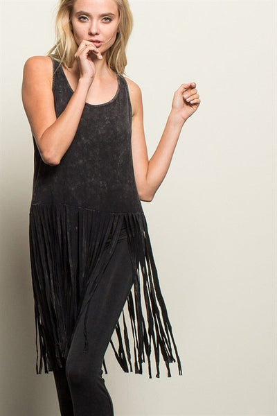Long Fringe Tank - Oh Deer Boutique