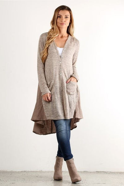 Flowy Contrast Cardigan - Oh Deer Boutique