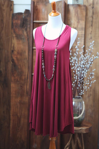 Burgundy Tank Dress - Oh Deer Boutique