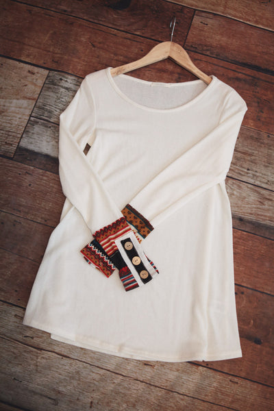 Print Cuff Tunic - Oh Deer Boutique