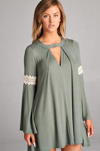 Olive Bell Sleeve Tunic - Oh Deer Boutique