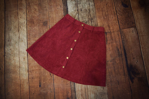 Corduroy Button Front Skirt - Oh Deer Boutique