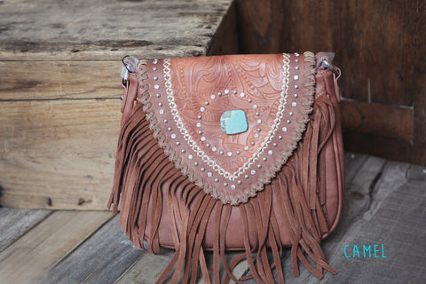 Turquoise and Fringe Handbag - Oh Deer Boutique