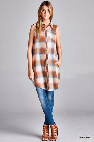 Plaid Tunic Top - Oh Deer Boutique