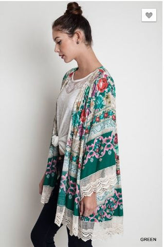 Floral and Lace Kimono - Oh Deer Boutique