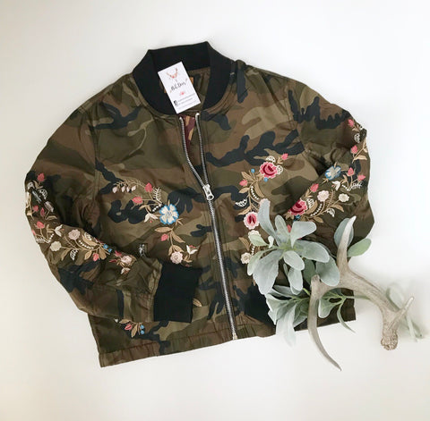 Embroidered Camo Jacket - Oh Deer Boutique