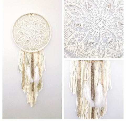 Silver Beaded Dreamcatcher - Oh Deer Boutique