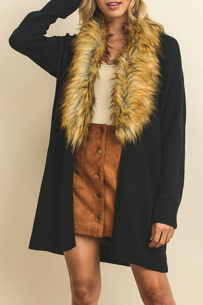 Faux Fur Collared Cardigan - Oh Deer Boutique