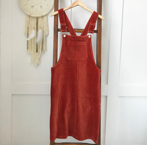 Rust Corduroy Overall Dress - Oh Deer Boutique