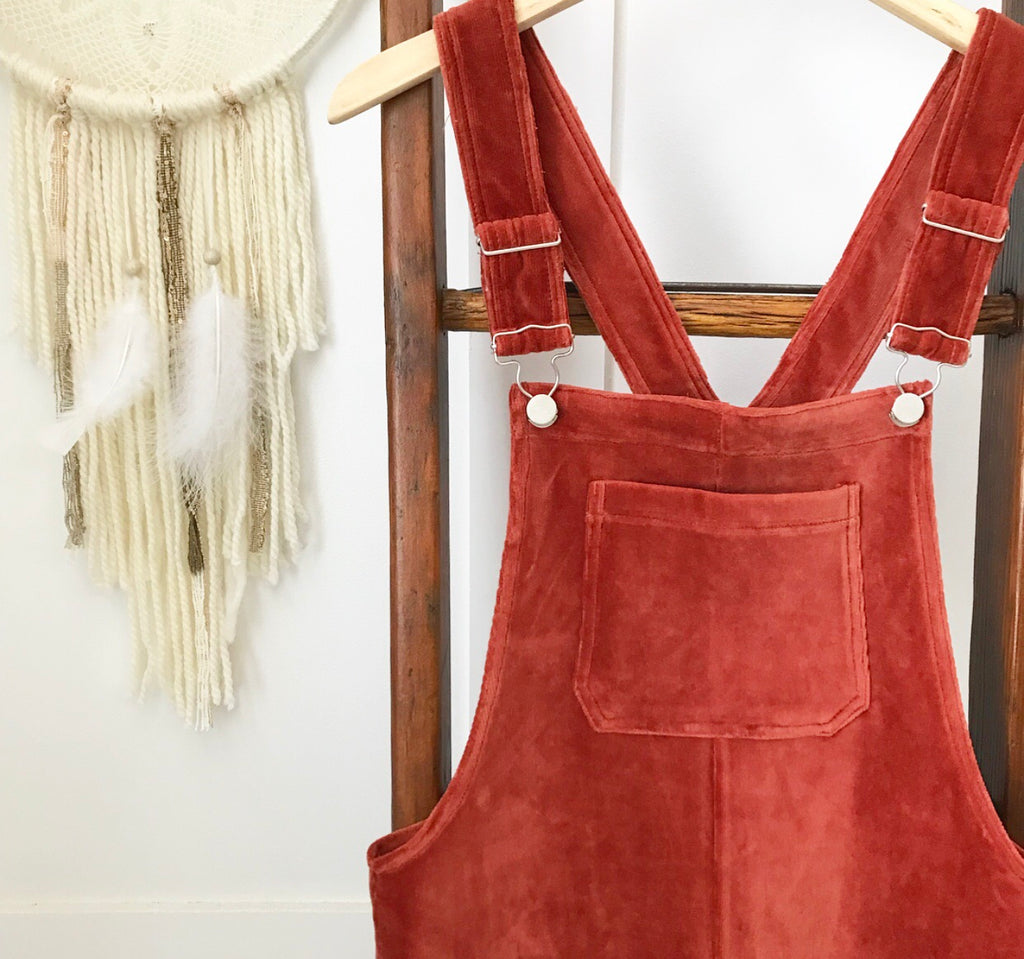 4a1f510fbb ... Rust Corduroy Overall Dress - Oh Deer Boutique