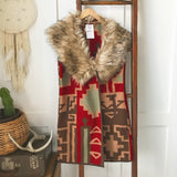 Aztec Fur Collar Vest - Oh Deer Boutique
