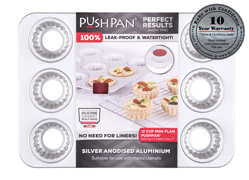 PushPan 12 Cup Mini Flan Pan - Anodised Aluminium - KitchenarySg - 1