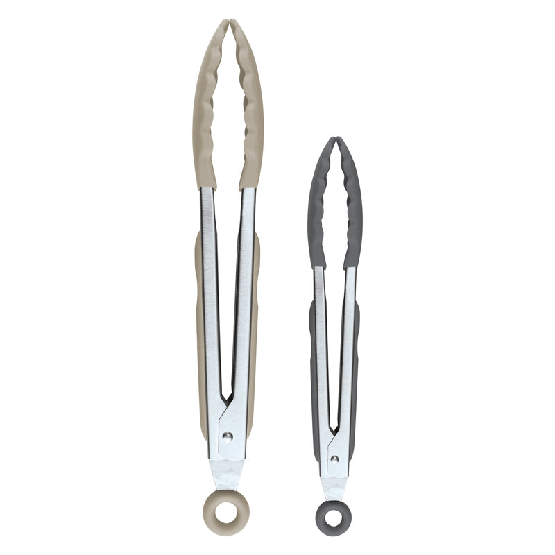 "Elements 9"" & 12"" Stainless Steel Tongs (Set of 2) - KitchenarySg - 1"