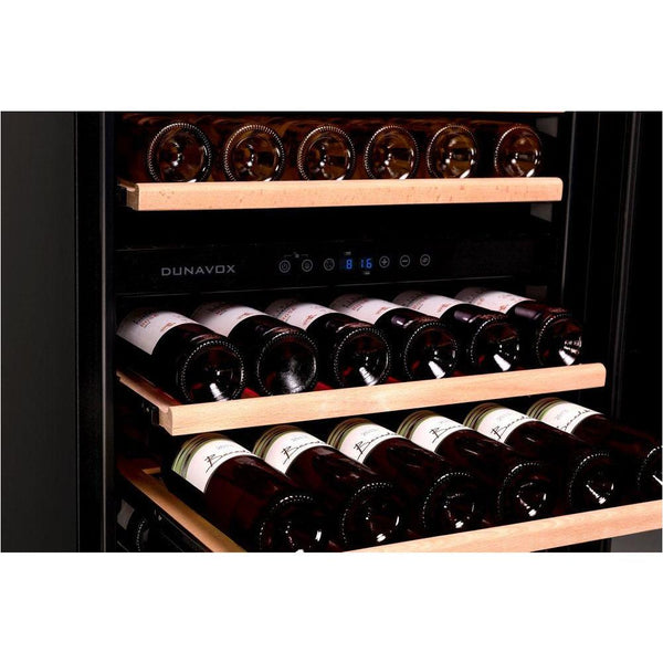 Dunavox - 166 bottle Built In Dual Zone Tall Wine Cooler DX-166.428DBK Elite Wine Refrigeration