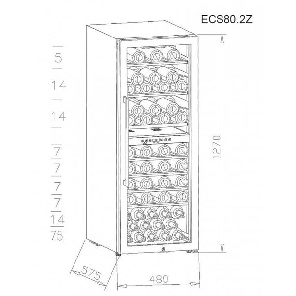 La Sommeliere - 75 Bottle Service Dual Zone Wine Fridge  ECS80.2Z