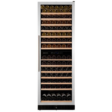 Dunavox - 166 bottle Built In Dual Zone Tall Wine Cooler Stainless Steel DX-166.428SDSK
