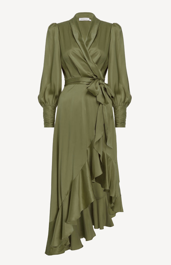 Silk Wrap Midi Dress in FennelZimmermann - Anita Hass