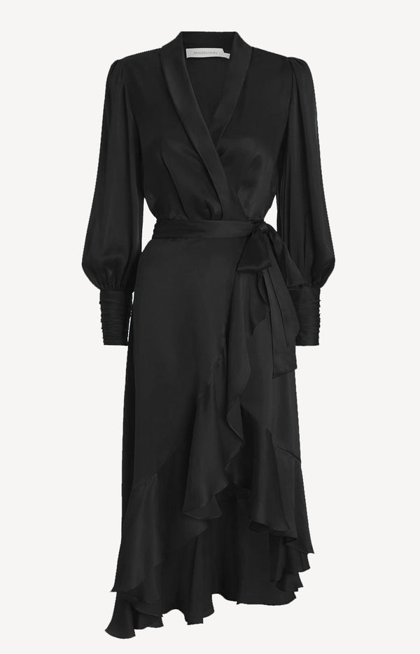 Silk Wrap Midi Dress in SchwarzZimmermann - Anita Hass
