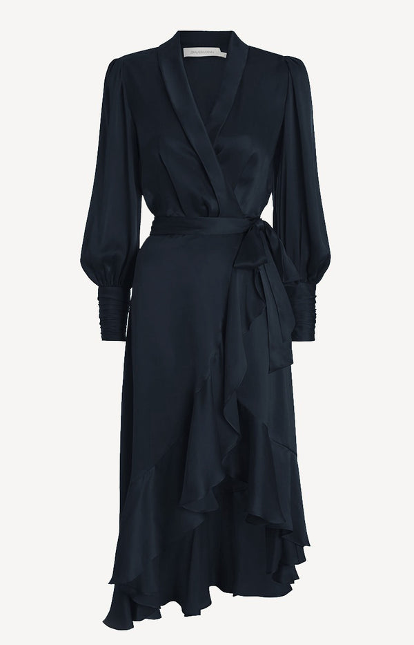 Silk Wrap Midi Dress in French NavyZimmermann - Anita Hass