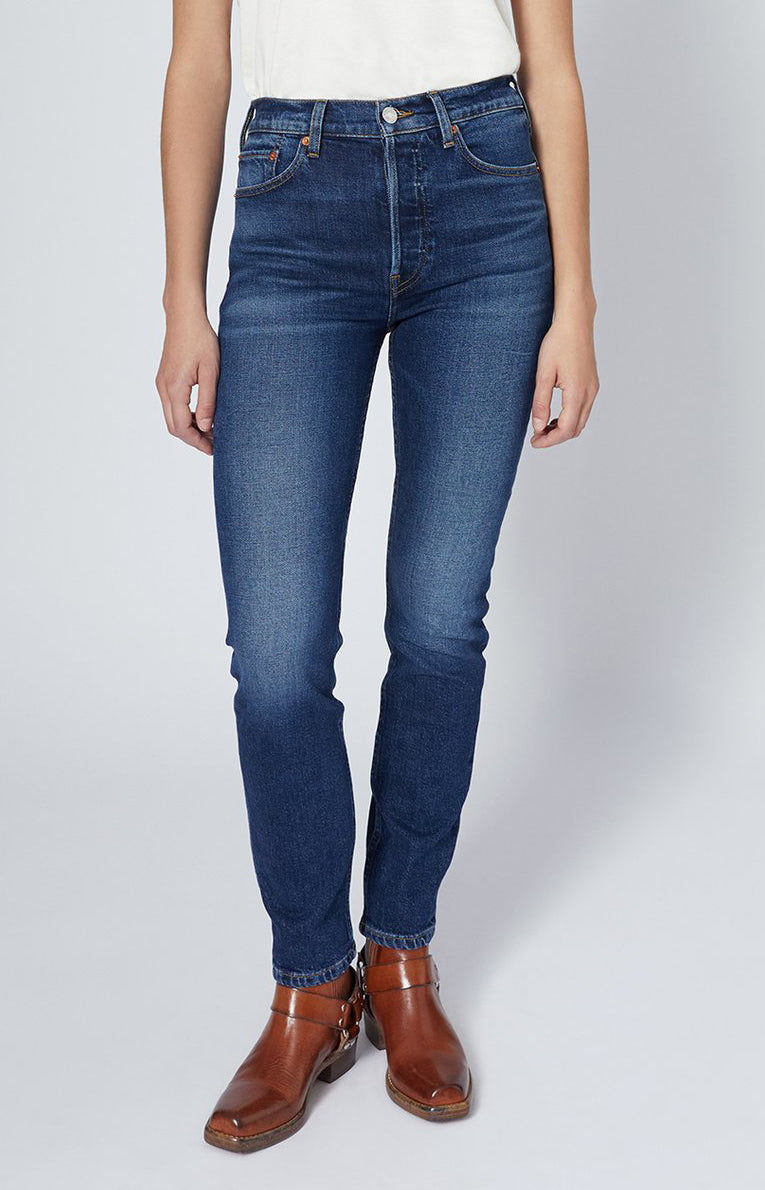 Jeans High Rise Ankle Crop in Midnight BlueRE/DONE - Anita Hass
