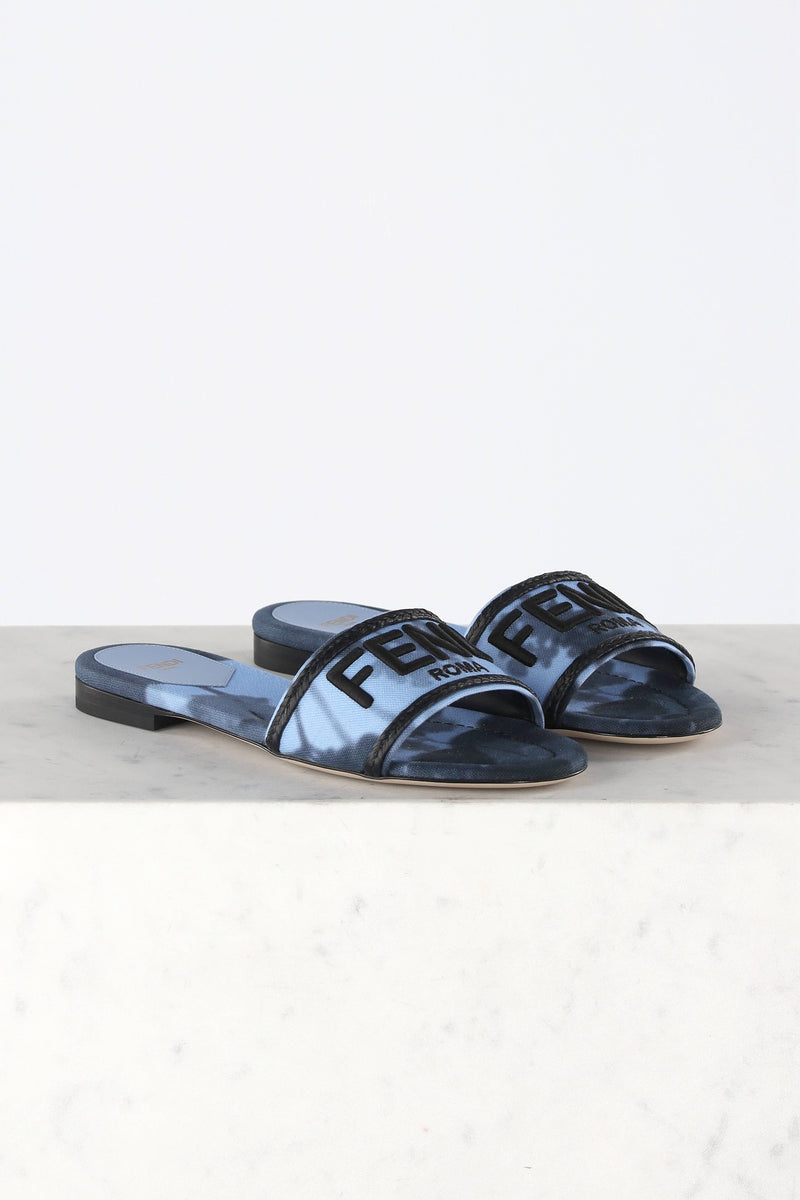Sandale Slide Canvas in BlauFendi - Anita Hass