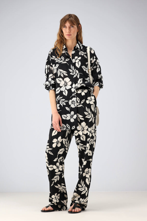 Bluse mit Hawaii-Print in Chalk/SchwarzTom Ford - Anita Hass