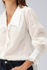 Bluse Lace Collar in Blanc