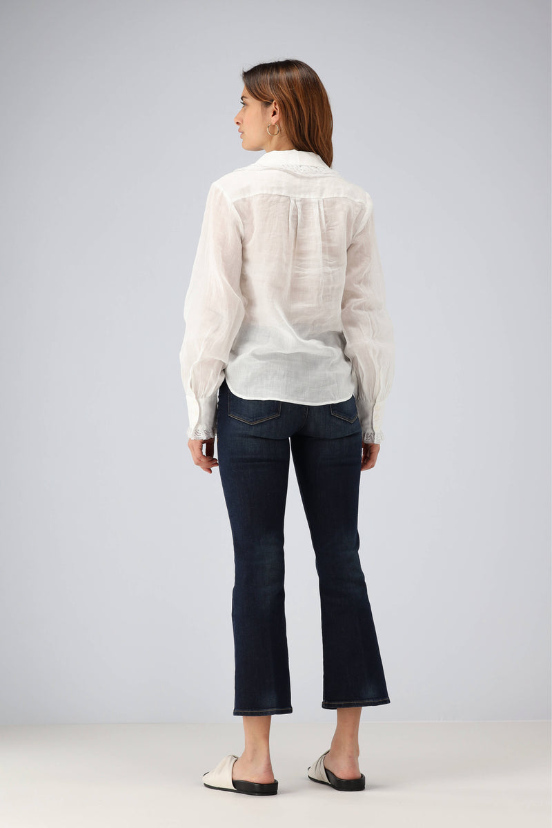 Bluse Lace Collar in BlancFrame Denim - Anita Hass