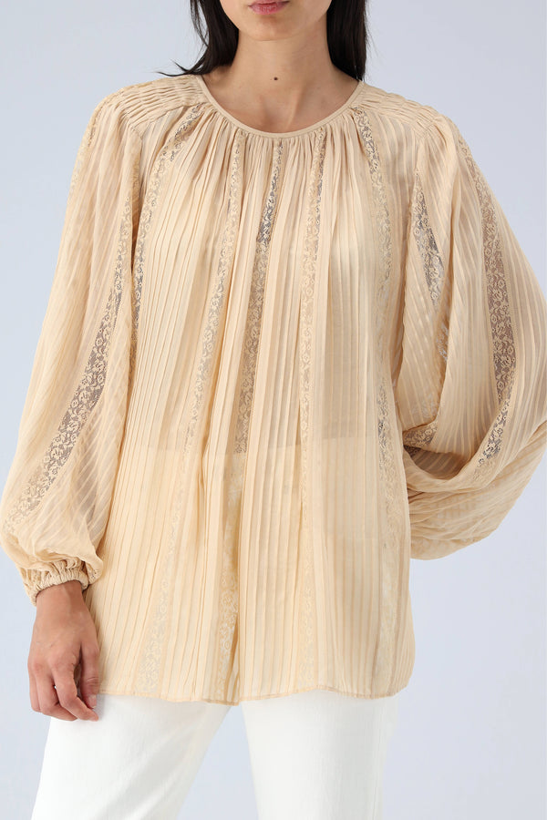 Bluse Candescent Pintucked in ChampagneZimmermann - Anita Hass