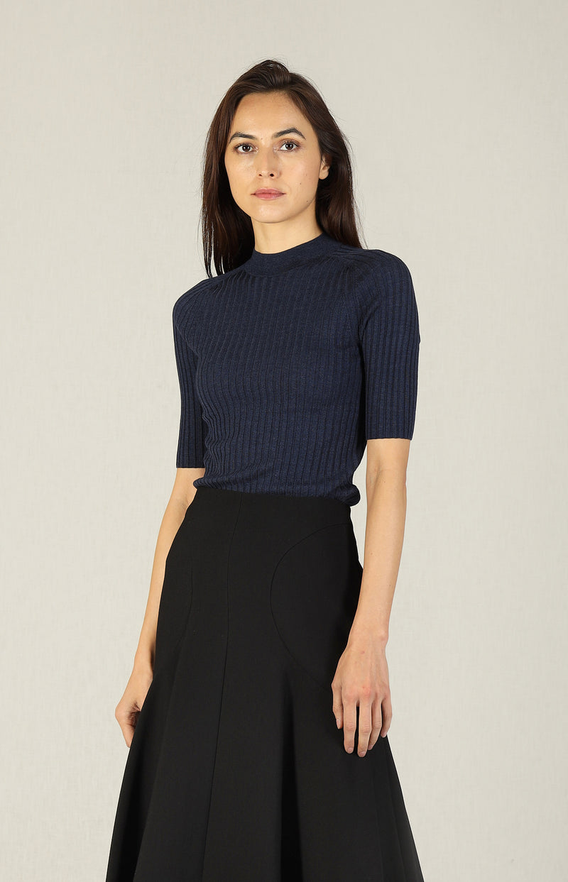 Pullover Skinny Rib in Heather InkVince - Anita Hass