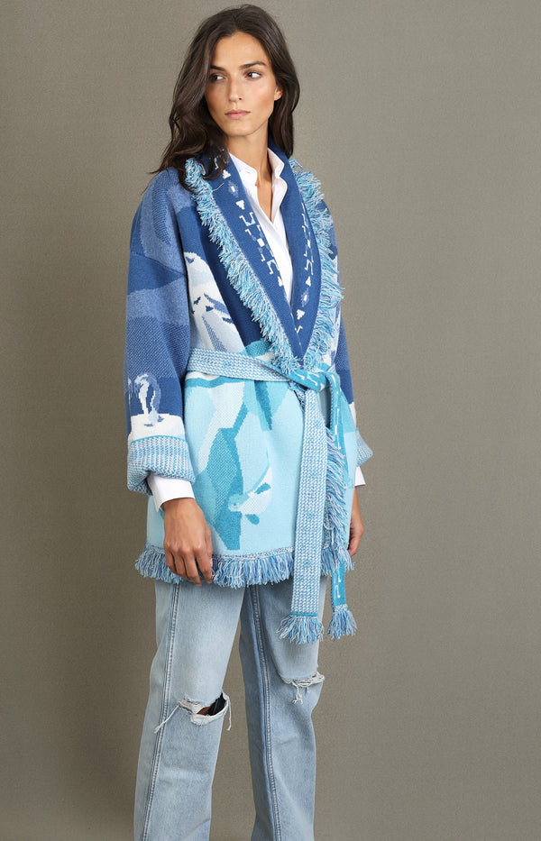 Cardigan Iced Landscape in Paradise Blue/MulticolorAlanui - Anita Hass