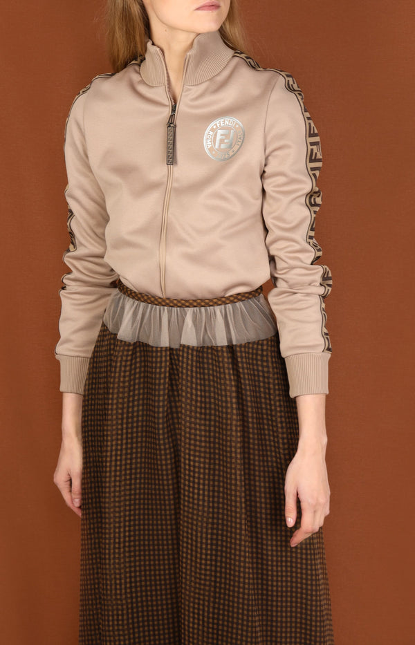 Sweatjacke mit FF-Logo in Liberty Plain