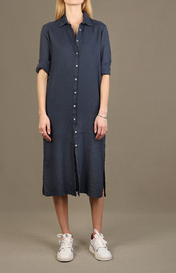 Tunika-Midi-Kleid in Blue Navy120 % Lino - Anita Hass