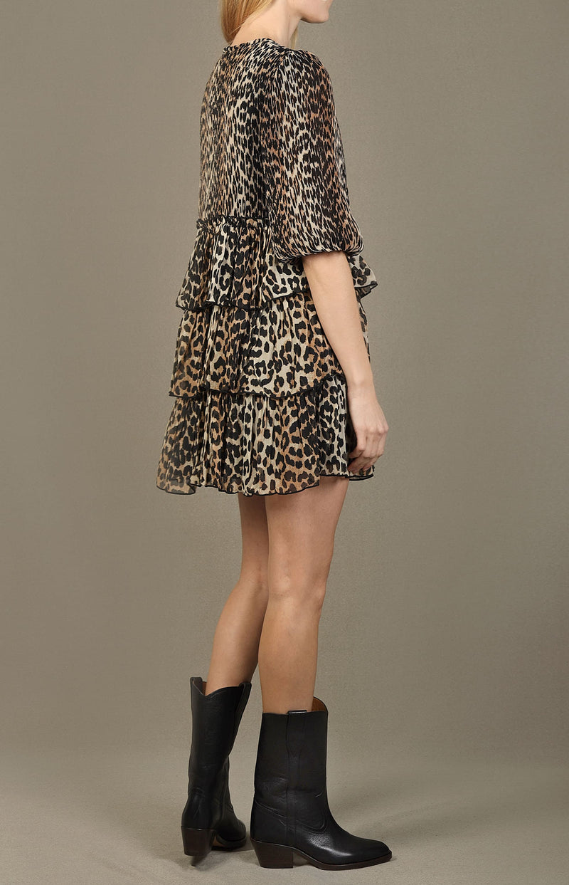 Mini-Kleid mit Volants in LeopardGanni - Anita Hass