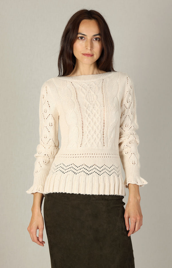 Lochstrick-Pullover in Soft IvorySee by Chloé - Anita Hass