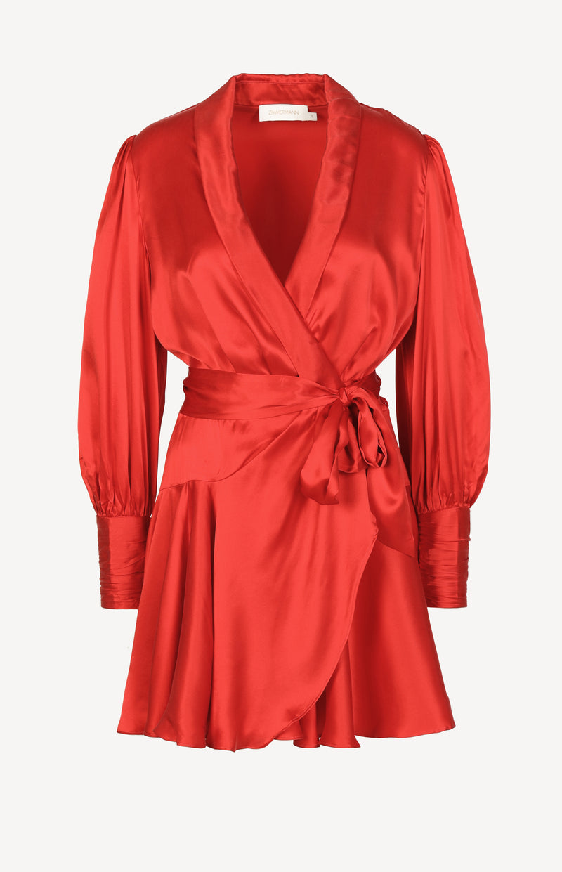 Silk Wrap Mini Dress in ScarletZimmermann - Anita Hass