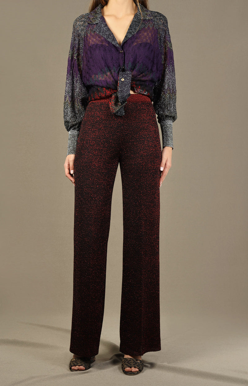 Glitzer-Hose in dunklem RotMissoni - Anita Hass