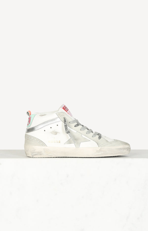 Sneaker Mid Star Classic in White/Ice/Silver/TurquoiseGolden Goose - Anita Hass