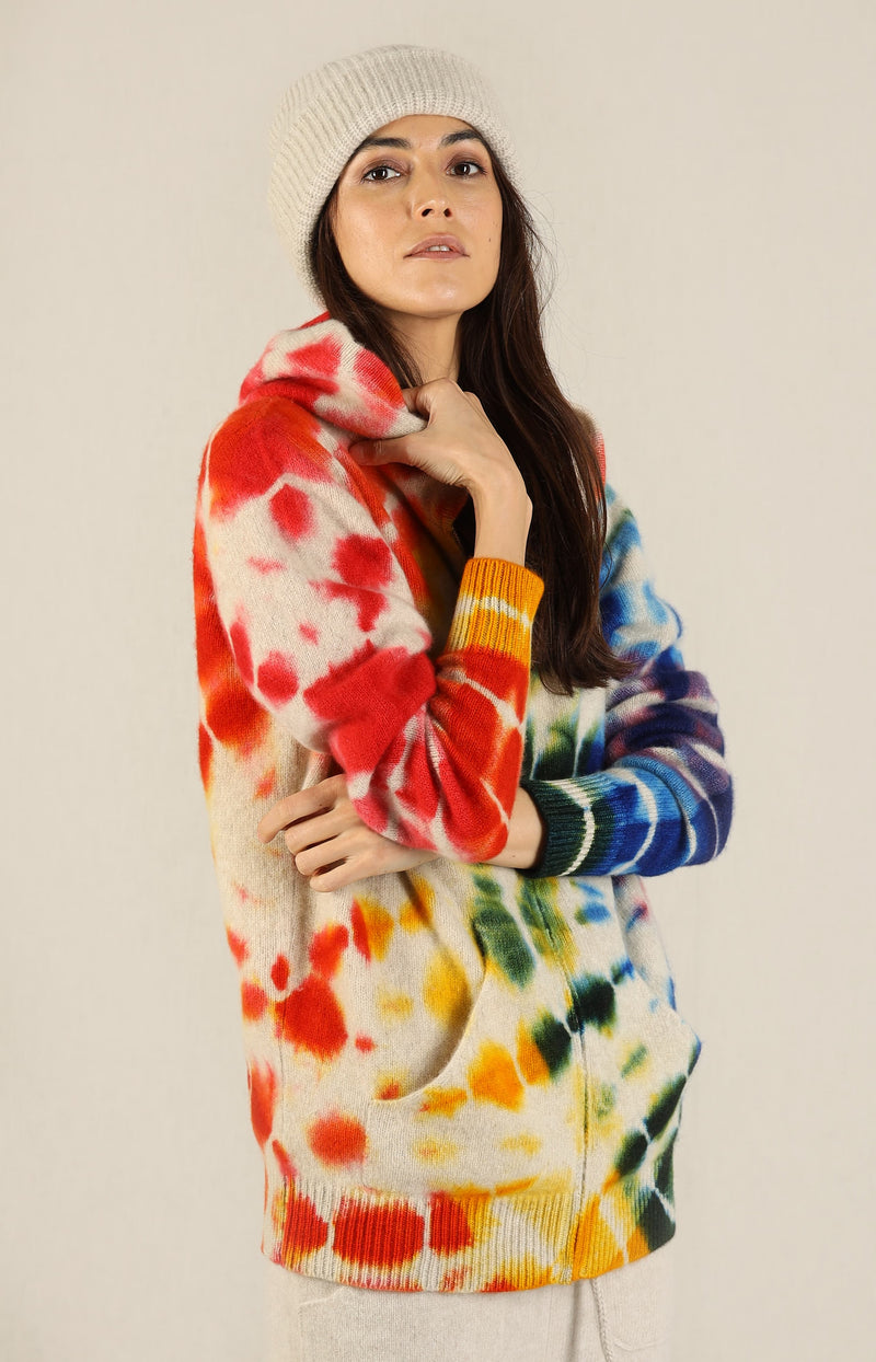 Zip Hoodie Scope in Weiß/RainbowThe Elder Statesman - Anita Hass