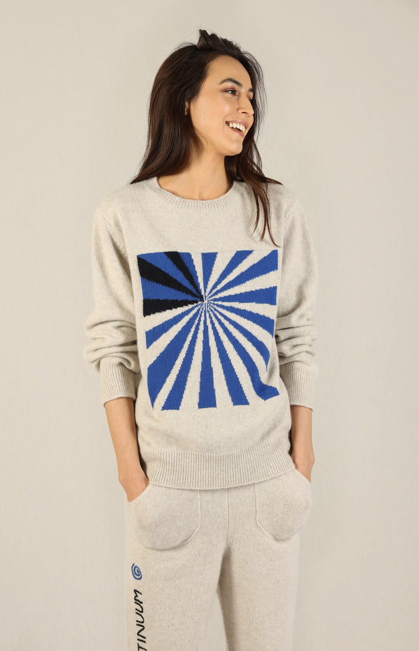 Pullover Odd Space Racing in Weiß/True Blue/SchwarzThe Elder Statesman - Anita Hass
