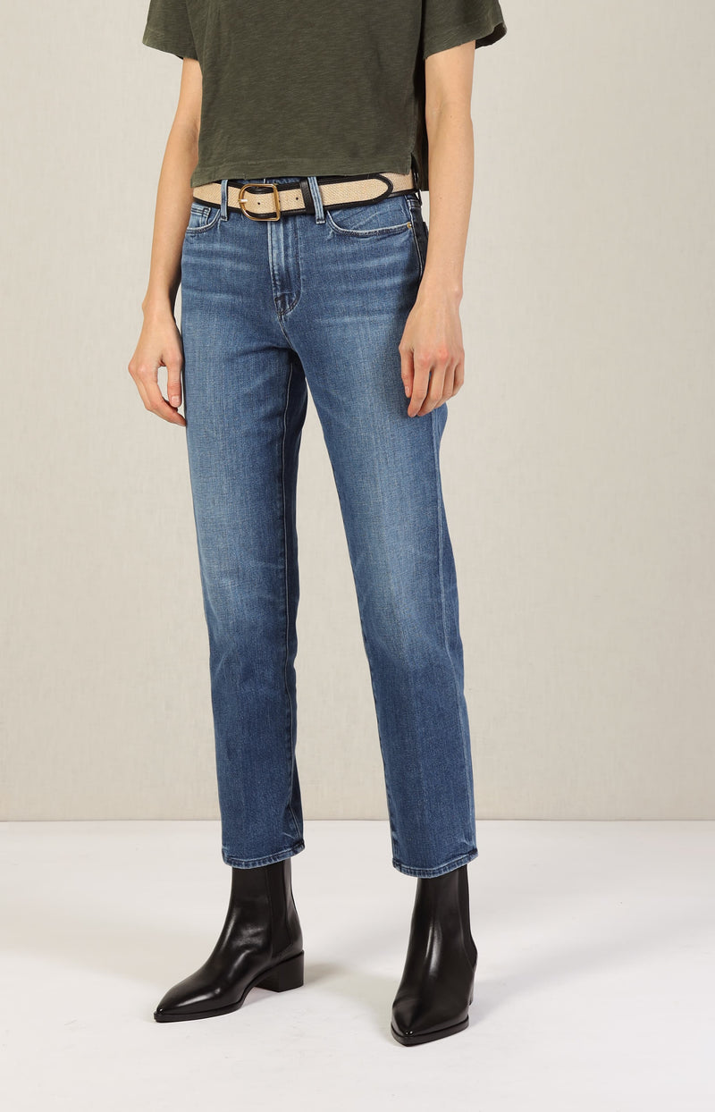 Jeans Le Nouveau Straight in Rodeo BlueFrame Denim - Anita Hass