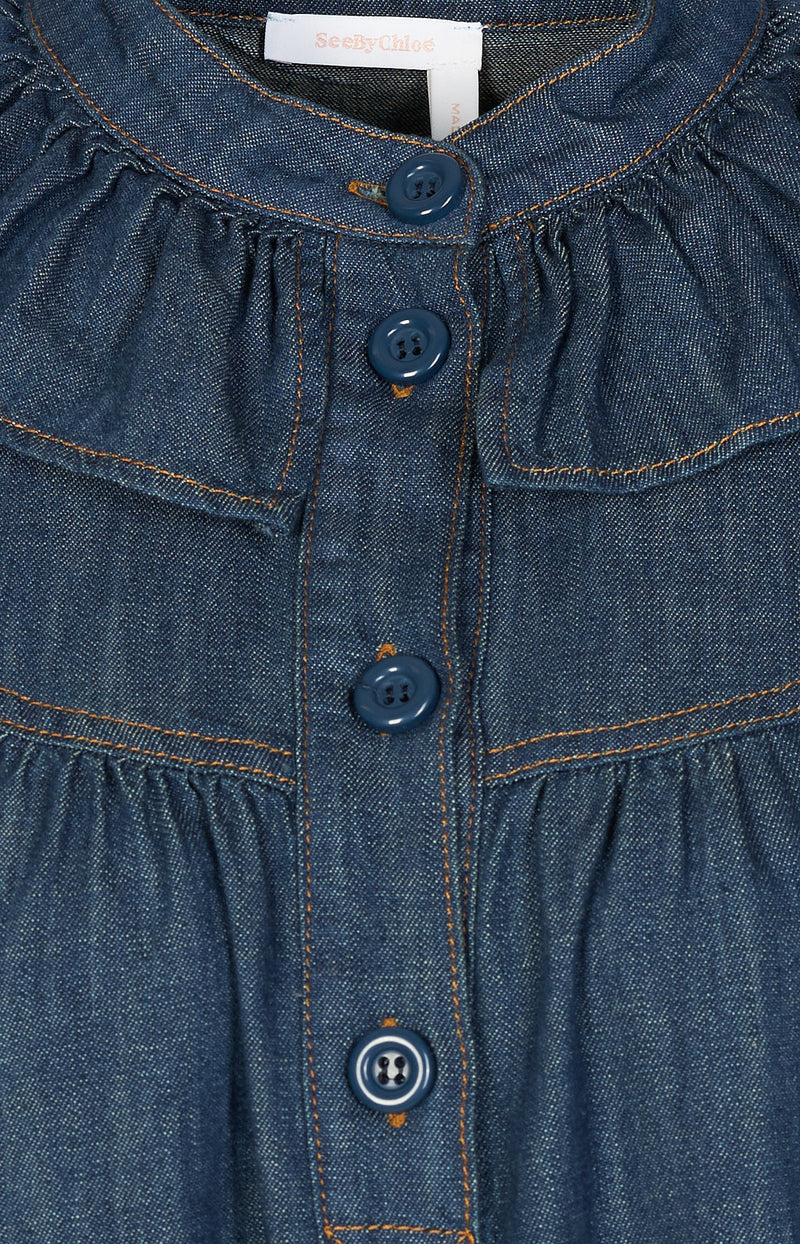 Gerüschte Bluse in Denim BlueSee by Chloé - Anita Hass